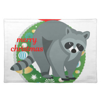 merry christmas raccoon placemat