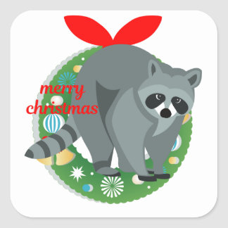 merry christmas raccoon square sticker