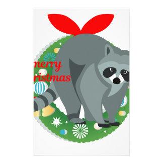 merry christmas raccoon stationery