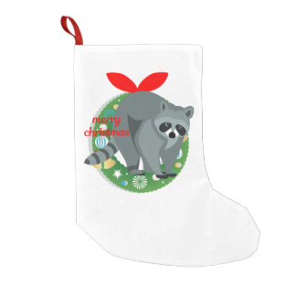 merry christmas raccoon stocking