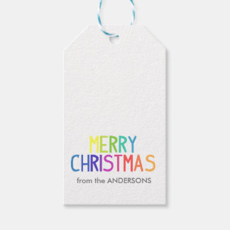 Merry Christmas rainbow script Pack Of Gift Tags