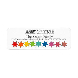 Merry Christmas Rainbow stars holiday label