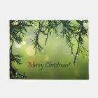 Merry Christmas Raindrops on Evergreen Tree Doormat