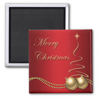 Merry Christmas Red and Gold Tree & Baubles Square Magnet