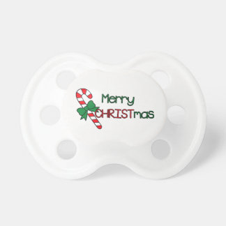Merry CHRISTmas Red and Green Pacifier