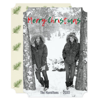 Merry Christmas Red and Green Script Overlay Photo Card