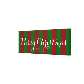 Merry Christmas Red and Green Stripe Canvas Print