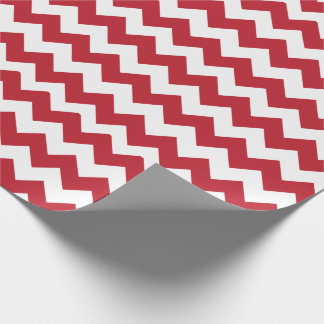 Merry Christmas Red and White Chevron Wrapping Paper