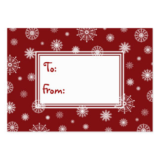 Merry Christmas Red and White Snowflakes Gift Tags Pack Of Chubby Business Cards