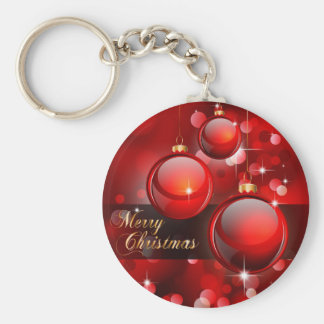 Merry Christmas Red Baubles Keychain