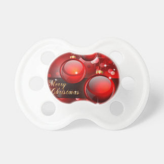 Merry Christmas Red Baubles Pacifier