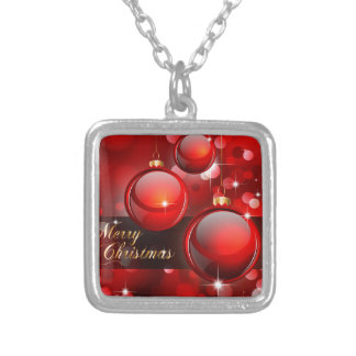Merry Christmas Red Baubles Silver Plated Necklace