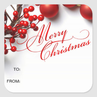 Merry Christmas Red Berries & Ornaments Square Sticker