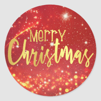 Merry Christmas, Red Bokeh, Gold and White Lights Classic Round Sticker
