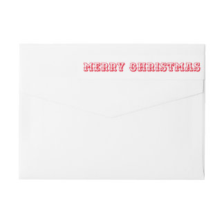 Merry Christmas Red Bold Typography Script Wrap Around Label