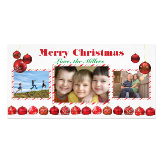 Merry Christmas Red Bulbs - Photo Card