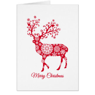 Merry Christmas, red deer with snowflakes Card