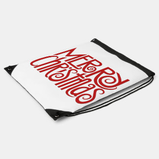 Merry Christmas red Drawstring Backpack