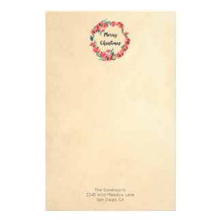 Merry Christmas Red Floral Watercolor Wreath Custom Stationery