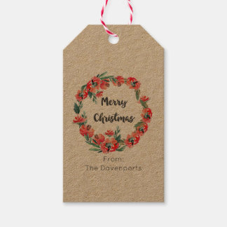 Merry Christmas Red Floral Watercolor Wreath Pack Of Gift Tags