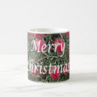 Merry Christmas Red Flowers Bush Mug