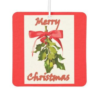 merry christmas red green mistletoe car air freshener
