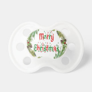 Merry Christmas red & green Pacifier