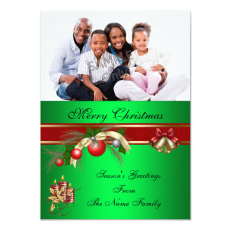 """Merry Christmas Red Green Party Greetings Photo 4.5"""" X 6.25"""" Invitation Card"""