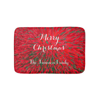 Merry Christmas Red Green Personalized Plush Bath Mat