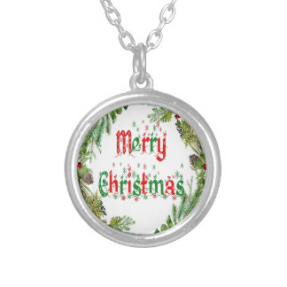 Merry Christmas red & green Silver Plated Necklace
