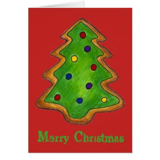 Merry Christmas Red Green Sugar Cookie Tree Xmas Card