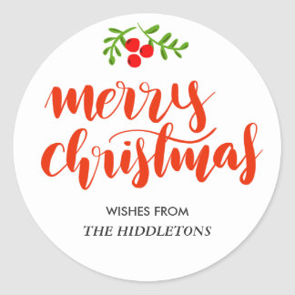 Merry Christmas Red Handwritten Script Classic Round Sticker