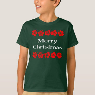 Merry Christmas Red Hibiscus Hawaiian T-Shirt