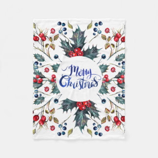 Merry Christmas- red holly berries Fleece Blanket