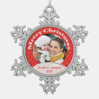 Merry Christmas Red Lace Photo Pewter Snowflake Ornament