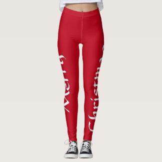 Merry Christmas red leggings