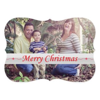"""Merry Christmas Red Lettering Shaped Card 5"""" X 7"""" Invitation Card"""