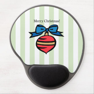 Merry Christmas Red Ornament Gel Mouse Pad Green