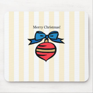 Merry Christmas Red Ornament Mouse Pad Yellow