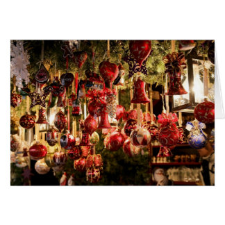 Merry Christmas Red Ornaments Display Card