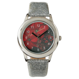 Merry Christmas Red Poinsettias Wrist Watches