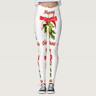 merry christmas red ribboned mistletoe leggings