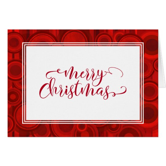 Merry Christmas Red Script w/ Circles & Stripes Card