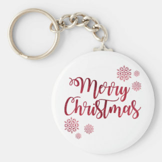 Merry Christmas Red Snowflake Keychain