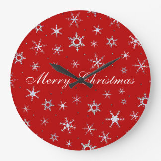 Merry Christmas Red Snowflakes Wall Clocks