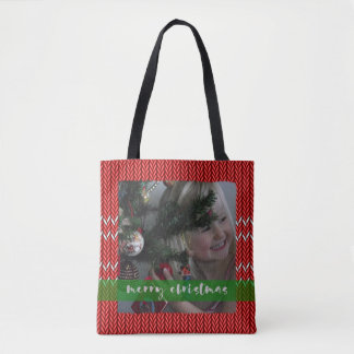 Merry Christmas Red Sweater Tote Bag