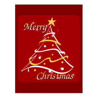 Merry Christmas Red Tree Postcard