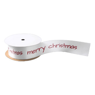 Merry Christmas Red Typography Holiday Satin Ribbon