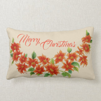 Merry Christmas Red Vintage Poinsettia Pillow