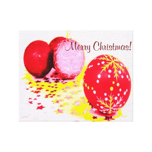Merry Christmas - Red & White Stretched Canvas Prints
